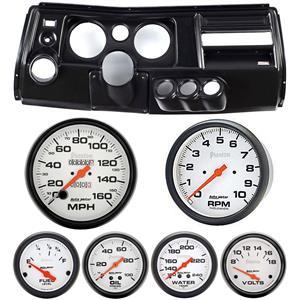 "69 Chevelle Black Dash Carrier Auto Meter 5"" Phantom Mechanical Gauges w/ Astro"