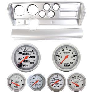 70-72 GTO Silver Dash Carrier w/Auto Meter Ultra Lite Mechanical Gauges