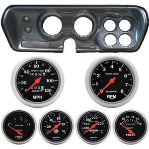Classic Dash 718710112 Mopar B Body Silver Dash Carrier Panel w/ Sport Comp Mechanical Gauges