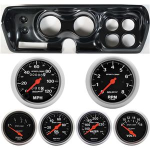 Classic Dash 718710113 Mopar B Body Carbon Dash Carrier Panel w/ Sport Comp Mechanical Gauges