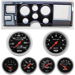 88-94 GM Truck Carbon Dash Carrier w/Auto Meter Sport Comp Mechanical Gauges
