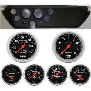 67 GTO Black Dash Carrier w/Auto Meter Sport Comp Mechanical Gauges