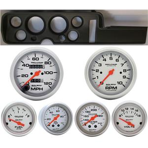 68 GTO Black Dash Carrier w/Auto Meter Ultra Lite Mechanical Gauges
