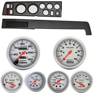 68-70 Mopar B Body Black Dash Carrier w/ Auto Meter Ultra Lite Mechanical Gauges