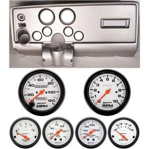69 Pontiac Firebird Silver Dash Carrier w/ Auto Meter Phantom Mechanical Gauges
