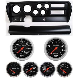 70-72 GTO Black Dash Carrier w/Auto Meter Sport Comp Mechanical Gauges
