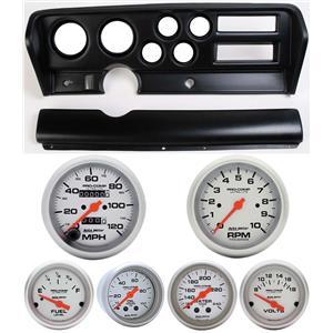 70-72 GTO Black Dash Carrier w/Auto Meter Ultra Lite Mechanical Gauges