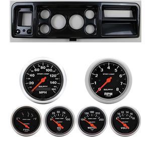 73-79 Ford Truck Carbon Dash Carrier w/ Auto Meter Sport Comp Electric Gauges