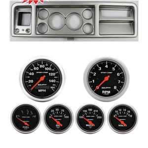 73-79 Ford Truck Silver Dash Carrier w/ Auto Meter Sport Comp Electric Gauges