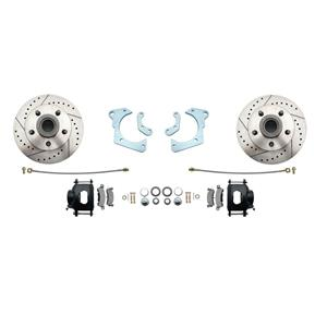 59-64 Chevy Full Size Front Disc Brake Wheel Kit Drilled Slotted Black Caliper