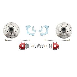 59-64 Chevy Full Size Front Disc Brake Wheel Kit Drilled Slotted Red Caliper