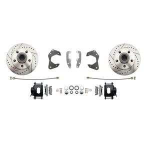 65-68 Chevy Full Size Front Disc Brake Wheel Kit Drilled Slotted Black Caliper