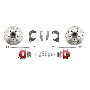 65-68 Chevy Full Size Front Disc Brake Wheel Kit Drilled Slotted Red Caliper
