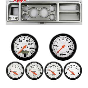 """73-79 Ford Truck Silver Dash Carrier Auto Meter 3-3/8"""" Phantom Electric Gauges"""