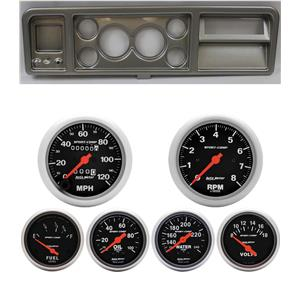 73-79 Ford Truck Silver Dash Carrier w/ Auto Meter Sport Comp Mechanical Gauges