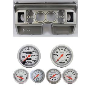 80-86 Ford Truck Silver Dash Carrier w/ Auto Meter Ultra-Lite Mechanical Gauges