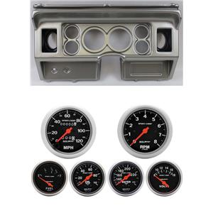 80-86 Ford Truck Silver Dash Carrier w/ Auto Meter Sport Comp Mechanical Gauges
