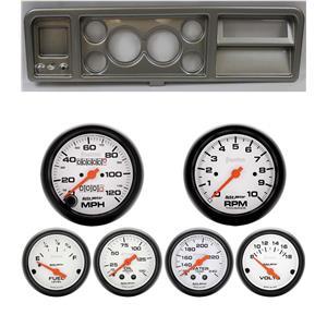 73-79 Ford Truck Silver Dash Carrier w/ Auto Meter Phantom Mechanical Gauges