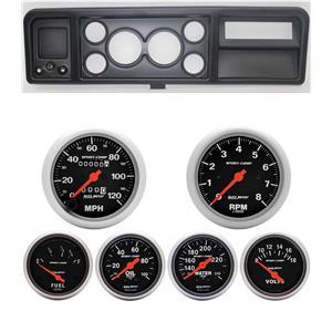 73-79 Ford Truck Black Dash Carrier w/ Auto Meter Sport Comp Mechanical Gauges