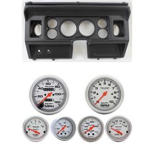 80-86 Ford Truck Black Dash Carrier w/ Auto Meter Ultra-Lite Mechanical Gauges