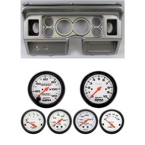 80-86 Ford Truck Silver Dash Carrier w/ Auto Meter Phantom Mechanical Gauges