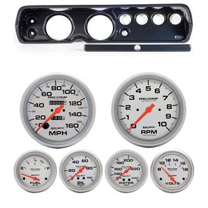"64 Chevelle Carbon Dash Carrier w/ Auto Meter 5"" Ultra-Lite Mechanical Gauges"