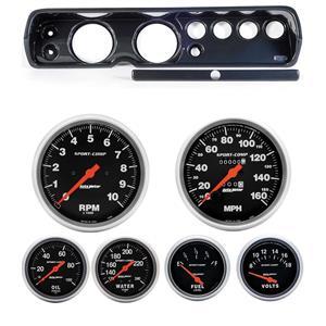 """64 Chevelle Carbon Dash Carrier w/ Auto Meter 5"""" Sport Comp Mechanical Gauges"""