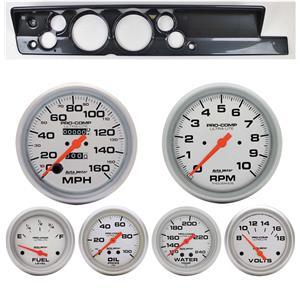 "67-69 Barracuda Carbon Dash Carrier Auto Meter 5"" Ultra-Lite Mechanical Gauges"