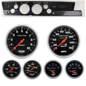 "67-69 Barracuda Carbon Dash Carrier Auto Meter 5"" Sport Comp Mechanical Gauges"
