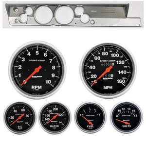 "67-69 Barracuda Silver Dash Carrier Auto Meter 5"" Sport Comp Mechanical Gauges"