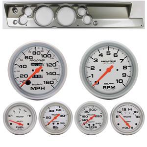 "67-69 Barracuda Silver Dash Carrier Auto Meter 5"" Ultra-Lite Mechanical Gauges"