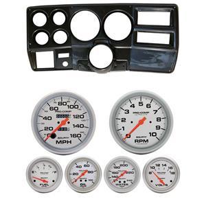 "73-83 GM Truck Carbon Dash Carrier w/ Auto Meter 5"" Ultra-Lite Mechanical Gauges"