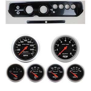 """65 Chevelle Carbon Dash Carrier w/ Auto Meter 3-3/8"""" Sport Comp Electric Gauges"""