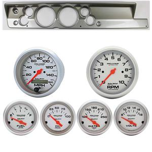 "67-69 Barracuda Silver Dash Carrier w/ Auto Meter 5"" Ultra-Lite Electric Gauges"