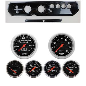 """64 Chevelle Carbon Dash Carrier Auto Meter 3-3/8"""" Sport Comp Mechanical Gauges"""