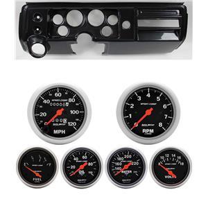 """68 Chevelle Carbon Dash Carrier Auto Meter 3-3/8"""" Sport Comp Mechanical Gauges"""