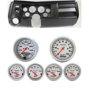 "69 Chevelle Black Dash Carrier w/ Auto Meter 3-3/8"" Ultra-Lite Electric Gauges"