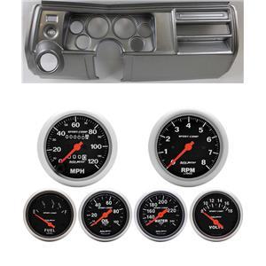 "69 Chevelle Silver Dash Carrier Auto Meter 3-3/8"" Sport Comp Mechanical Gauges"
