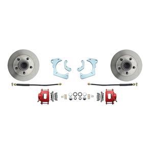 59-64 Chevy Full Size Front Disc Brake Wheel Kit Standard Rotor Red Caliper