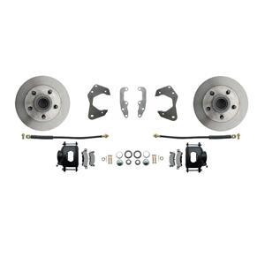 65-68 Chevy Full Size Front Disc Brake Wheel Kit Standard Rotor Black Caliper