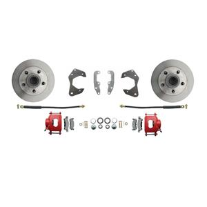 65-68 Chevy Full Size Front Disc Brake Wheel Kit Standard Rotor Red Caliper