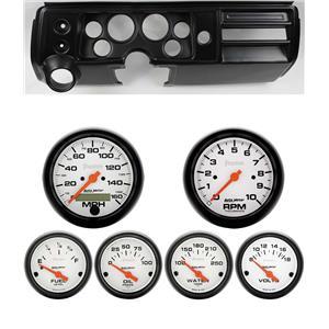 "68 Chevelle Black Dash Carrier w/ Auto Meter 3-3/8"" Phantom Electric Gauges"