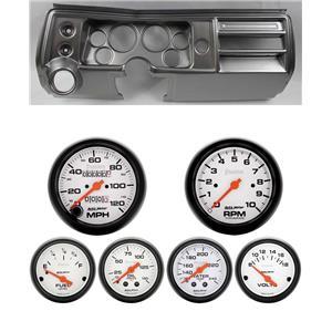 "68 Chevelle Silver Dash Carrier w/ Auto Meter 3-3/8"" Phantom Mechanical Gauges"