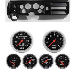"""68 Chevelle Black Dash Carrier w/ Auto Meter 3-3/8"""" Sport Comp Mechanical Gauges"""