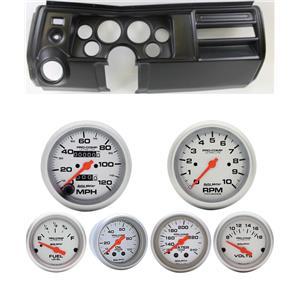 "69 Chevelle Black Dash Carrier w/ Auto Meter 3-3/8"" Ultra-Lite Mechanical Gauges"