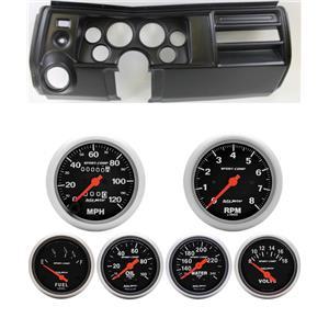 """69 Chevelle Black Dash Carrier w/ Auto Meter 3-3/8"""" Sport Comp Mechanical Gauges"""