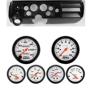 "68 Chevelle Black Dash Carrier w/ Auto Meter 3-3/8"" Phantom Mechanical Gauges"