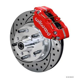 """Wilwood 64-72 Chevelle A-Body Front Disc Brake Kit 11"""" Drilled Rotor Red Caliper"""