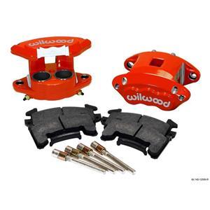 "WILWOOD D154 BRAKE CALIPER & PAD SET W/PINS, FRONT 2 PISTON 1.04"" RED METRIC GM"