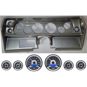 68 Nova Silver Dash Carrier Panel w/ Dakota Digital VHX Universal 6 Gauge